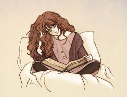 Reading before bed illustration